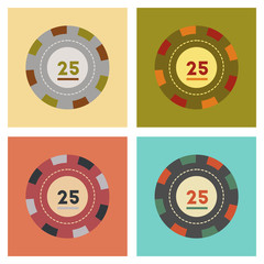 assembly flat icons poker chips