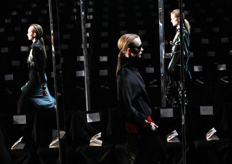 Models do a run-through before the start of the Diane Von Furstenberg Fall/Winter 2011 collection during New York Fashion Week