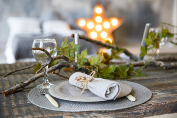 Table setting in vintage rustic  style, brown and gray colors