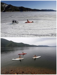 TO MOVE 1 SEP 10 GMT A combination picture shows a woman enjoying the sun on the bank of the Yenisei River and members of a local dancing group practicing Float Board Yoga in the same location