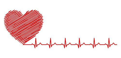 Heart pulse, one painted line - stock vector