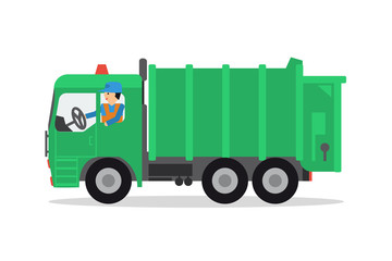 The worker on the garbage truck
