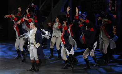 "Lin-Manuel Miranda from ""Hamilton"" performs with the cast during the American Theatre Wing's 70th annual Tony Awards in New York"