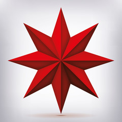Volume eight-pointed red star, 3d object, geometry shape, mesh version, abstract vector