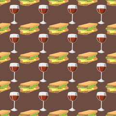 Sandwiches with wine glass seamless pattern healthy fast breakfast delicious dinner vector illustration.