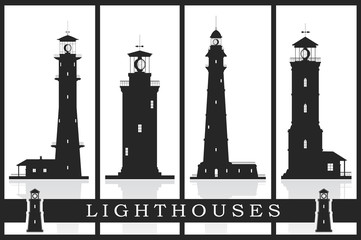 Lighthouses silhouettes vector set isolated on white. Vector illustration