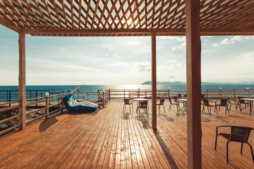 Wooden terrace with view on sea and sunset  resort travel concept Gelendzhik, North Caucasus, Russia