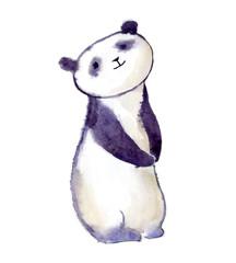 Watercolor panda bear. Cute and fluffy.