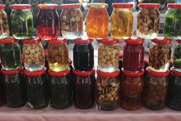 various jars of fruit jam