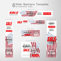 6 web white and red banners vector collection of Memorial Day Sale of standard size with american flag silhouette on the gradient gray background.