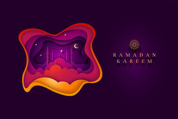 Islamic greeting card design for Ramadan Kareem