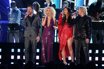 """Little Big Town sings the Bee Gees' """"How Deep is your Love"""" at the 59th Annual Grammy Awards in Los Angeles"""