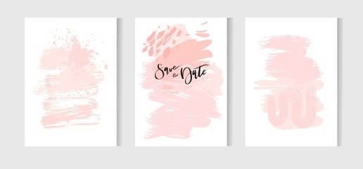 Set of creative universal cards. Hand Drawn textures. Wedding, anniversary, birthday, Valentine s day, party. Design for banner, poster, card, invitation, placard, brochure, flyer. Vector. Isolated.