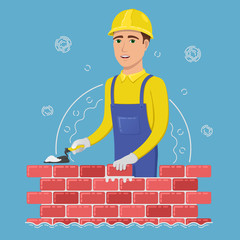 A cheerful builder in a yellow helmet puts a brick. Young man mason holding spatula in hand near wall. Colored vector illustration in flat style.