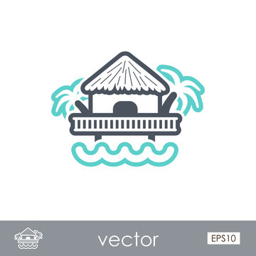 Bungalow with palm trees icon. Summer. Vacation