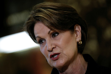 Marillyn Hewson, Chairman, President and Chief Executive Officer of Lockheed Martin Corporation, speaks to members of the news media after meeting with U.S.President-elect Donald Trump at Trump Tower