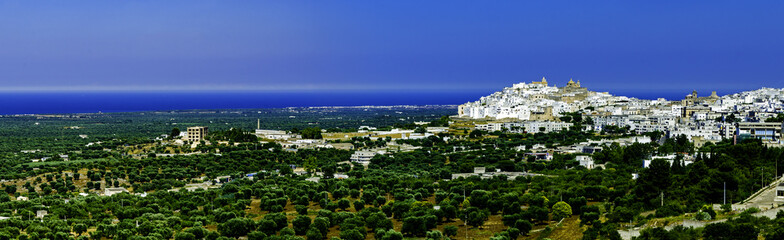 Panoramic view of the coastline in front of Ostuni. Apulia - Italy