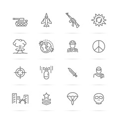 world war vector line icons