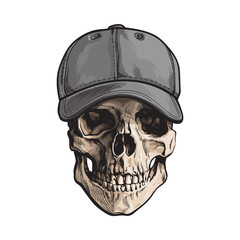Hand drawn human skull wearing grey colored unlabelled baseball cap, sketch vector illustration isolated on white background. Realistic hand drawing of skull wearing baseball cap