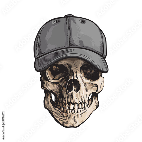 hand drawn human skull wearing grey colored unlabelled baseball cap sketch vector illustration isolated on