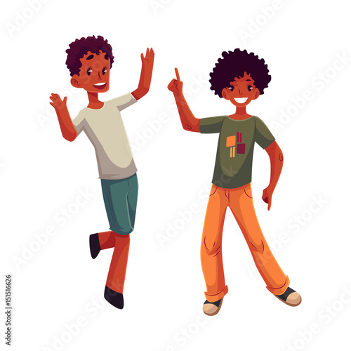 Black African American Boys Kids Having Fun Dancing At Party Cartoon Vector