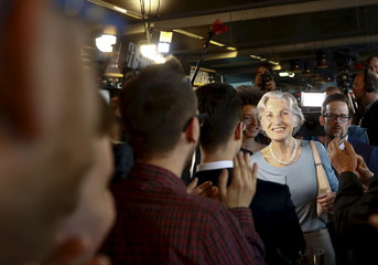 Presidential candidate Irmgard Griss arrives at the party headquarter in Vienna