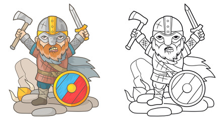 Cartoon viking with weapons in hands