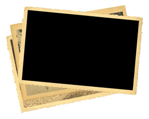 stack of old photos, yellowed and bleeched, free space for pix, isolated on white