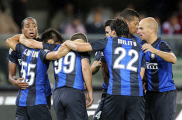 Inter Milan's Pereira celebrates with his teammates after scoring against Chievo Verona during their Serie A soccer match in Verona