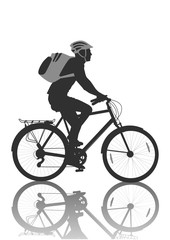 Cycling man. Cyclist in helmet with gray backpack. Bicycle with basket. Black silhouette isolated on white background. Vector illustration.