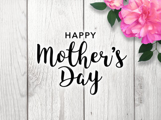 Mother's Day Graphic with Bright Pink Flower