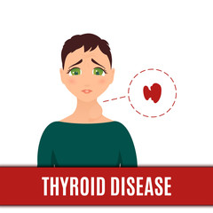 Thyroid gland disorder poster. Woman with hyperthyroidism disease goiter symbol. Body anatomy sign. Human endocrine system. Medical internal organ vector illustration.