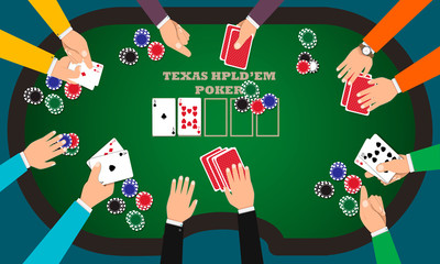 People playing poker around a poker table with dealer. Vector EPS10