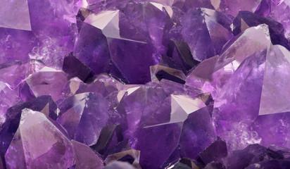 lilac amethyst crystals closeup background