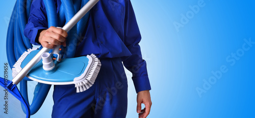 Swimming Pool Service Worker : Quot concept swimming pool maintenance worker blue background