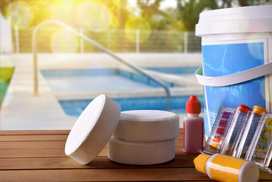 Swimming pool service and chemicals and pool background