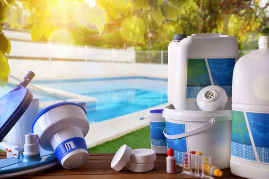 Swimming pool service and equipment with pool background
