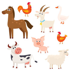 Set of farm animals - cow, sheep, horse, pig, goat, rooster, hen, goose, cartoon vector illustration isolated on white background, Set of cute and funny farm animals with friendly faces and big eyes