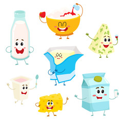 Set of funny dairy products with smiling human faces, cartoon vector illustration isolated on a white background. Cute and funny milk, blue, cottage, farm cheese, yogurt, butter dairy product set