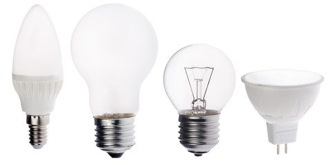 four different electric lamps isolated on white
