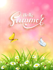 Pink Summer background with grass and Sun