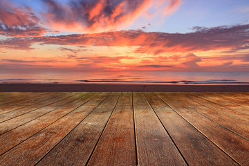 Wood Texture empty with sky and clouds, sunrise background in morning beach