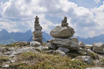 Steinmännchen am Nebelhorn, Oberstdorf, Oberallgäu, Bayern, Deutschland