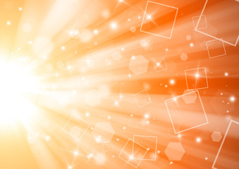 Gold and Orange glitter sparkles rays lights bokeh elegant technology abstract background.