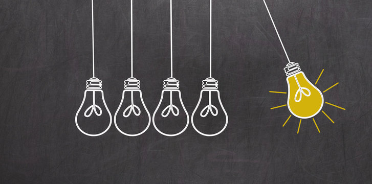Great Idea. Creativity Concept with light bulbs on chalkboard