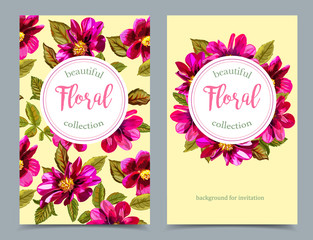 Elegant floral collection with isolated flowers, hand drawn on b