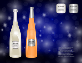White Wine Bottles on the Sparkling Background for Your Design.
