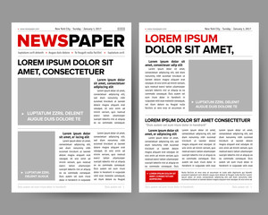 Daily newspaper journal design template with two-page opening editable headlines quotes text articles and images vector illustration