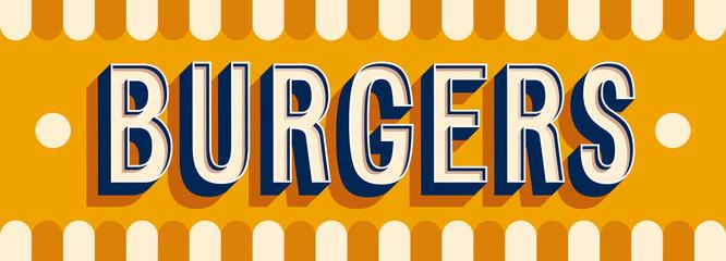 Burgers banner typographic design.