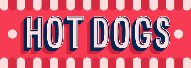 Hot Dogs banner typographic design.